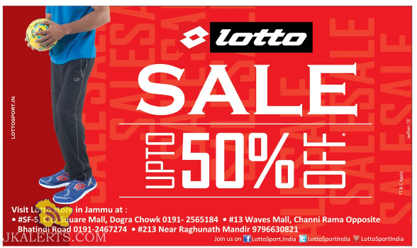 Lotto Sale in Jammu, Sale at Wave mall, City Square, Raghunath Bazar Jammu
