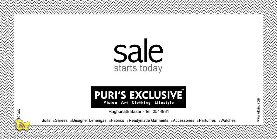 Sale on suits, sarees, designer Lehangas ,Readymade Garments, Fabrics, Accessories, Perfumes, Watches at Puri's Exculsive