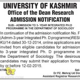 ADMISSION PH.D IN DEPARTMENT OF SOCIOLOGY