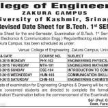 Date Sheet for B.Tech. 1st SEM Kashmir University