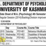 Date Sheet of MA (Psychology) 4th Semester