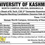 Date Sheet of B. Tech. CSE 2nd Semester University of kashmir