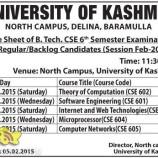 Date Sheet of B.Tech. CSE 6th Semester university of kashmir