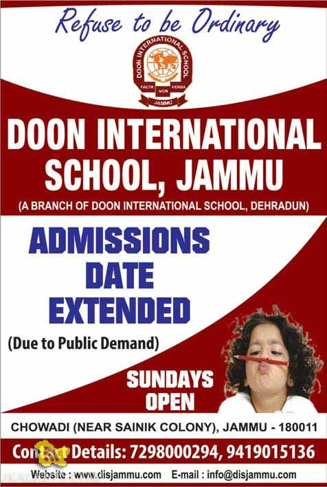 DOON INTERNATIONAL SCHOOL, JAMMU Admissions Dates Extended