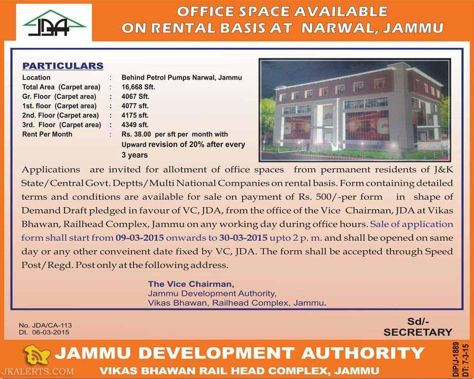 OFFICE SPACE AVAILABLE ON RENTAL BASIS AT NARWAL, JDA Building