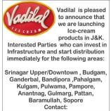 Vadilal Wanted Distributors in kashmir Division
