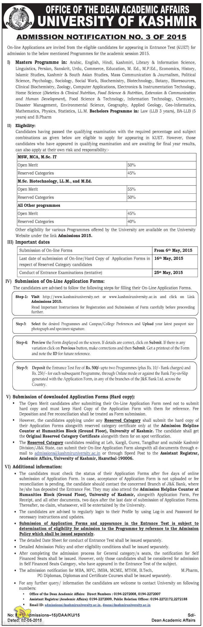 UNIVERSITY OF KASHMIR ADMISSION NOTIFICATION NO. 3 OF 2015