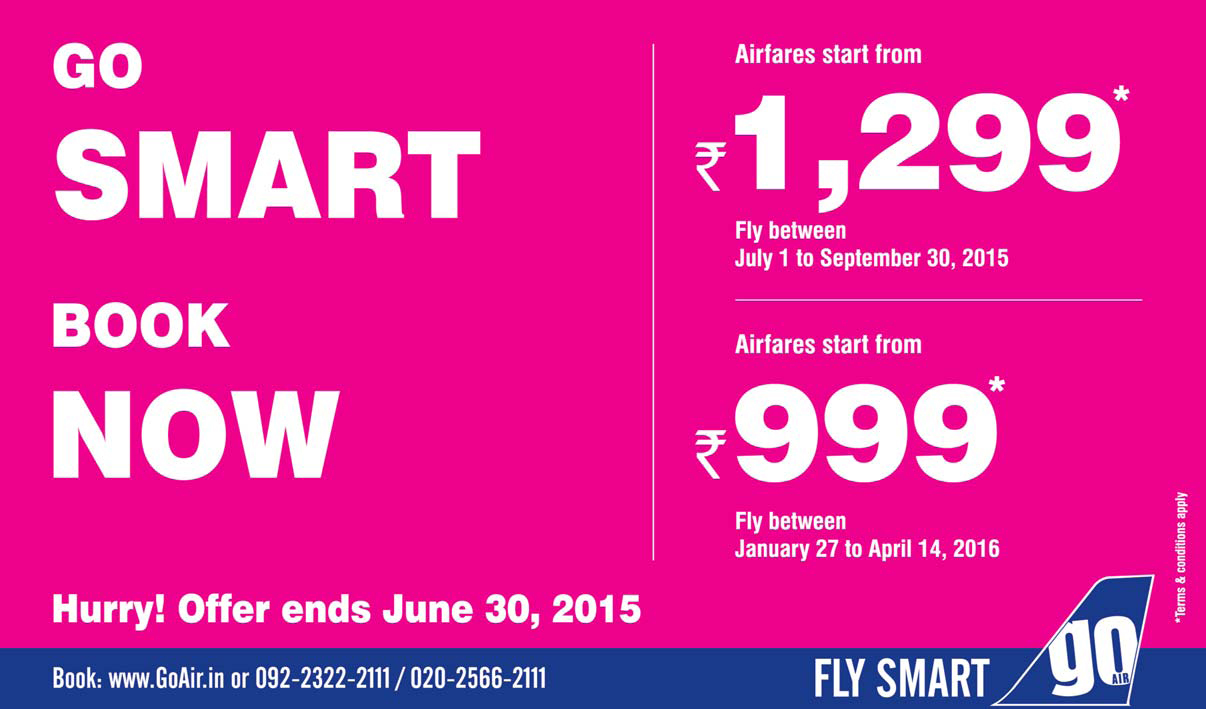 Offers on Air Fares, GO AIR, Best offer on air fare, Discount on air fare, Discount on by air Tickets, Deals discounts offers on air fare in j&K,