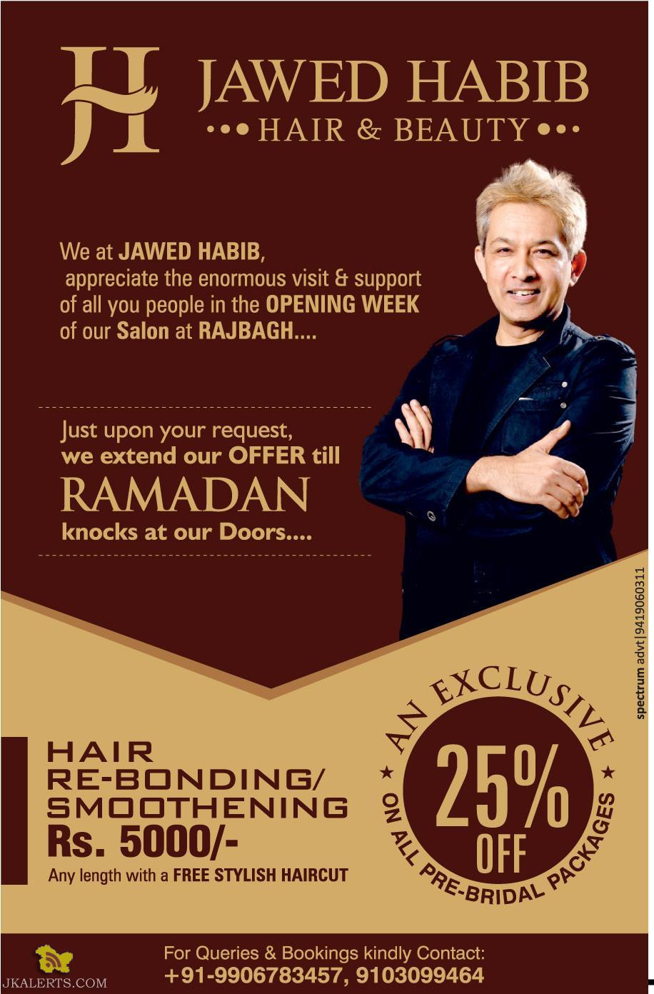 JAWED HABIB HAIR & BEAUTY offer 25% off