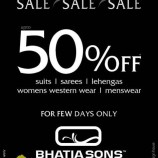 Sale on Suits, Sarees, Lehengas ,Womens western wears, Mens wear in Bhatia Sons