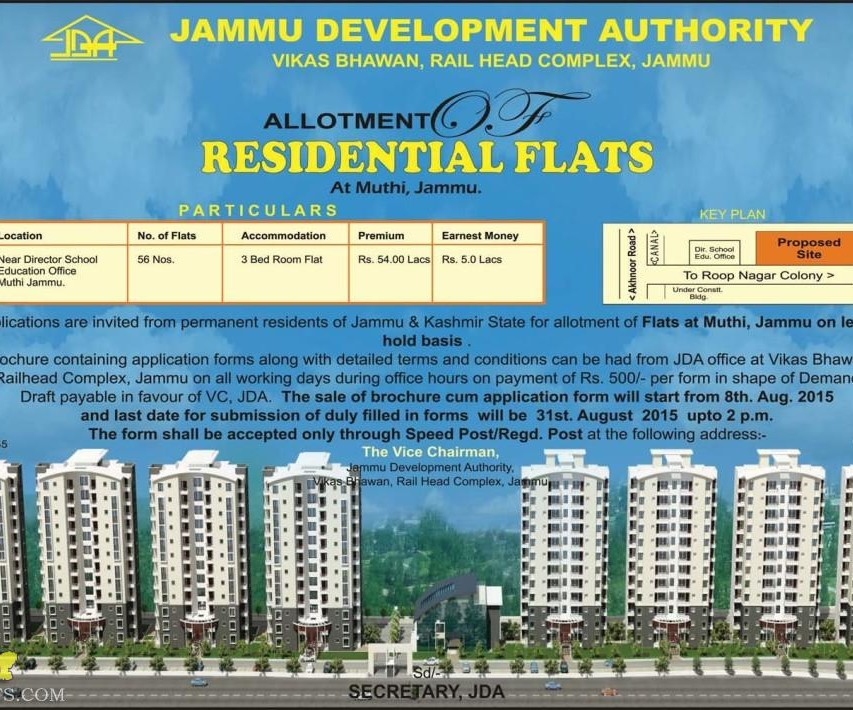JDA Allotment of residential Flats at Muthi, Jammu