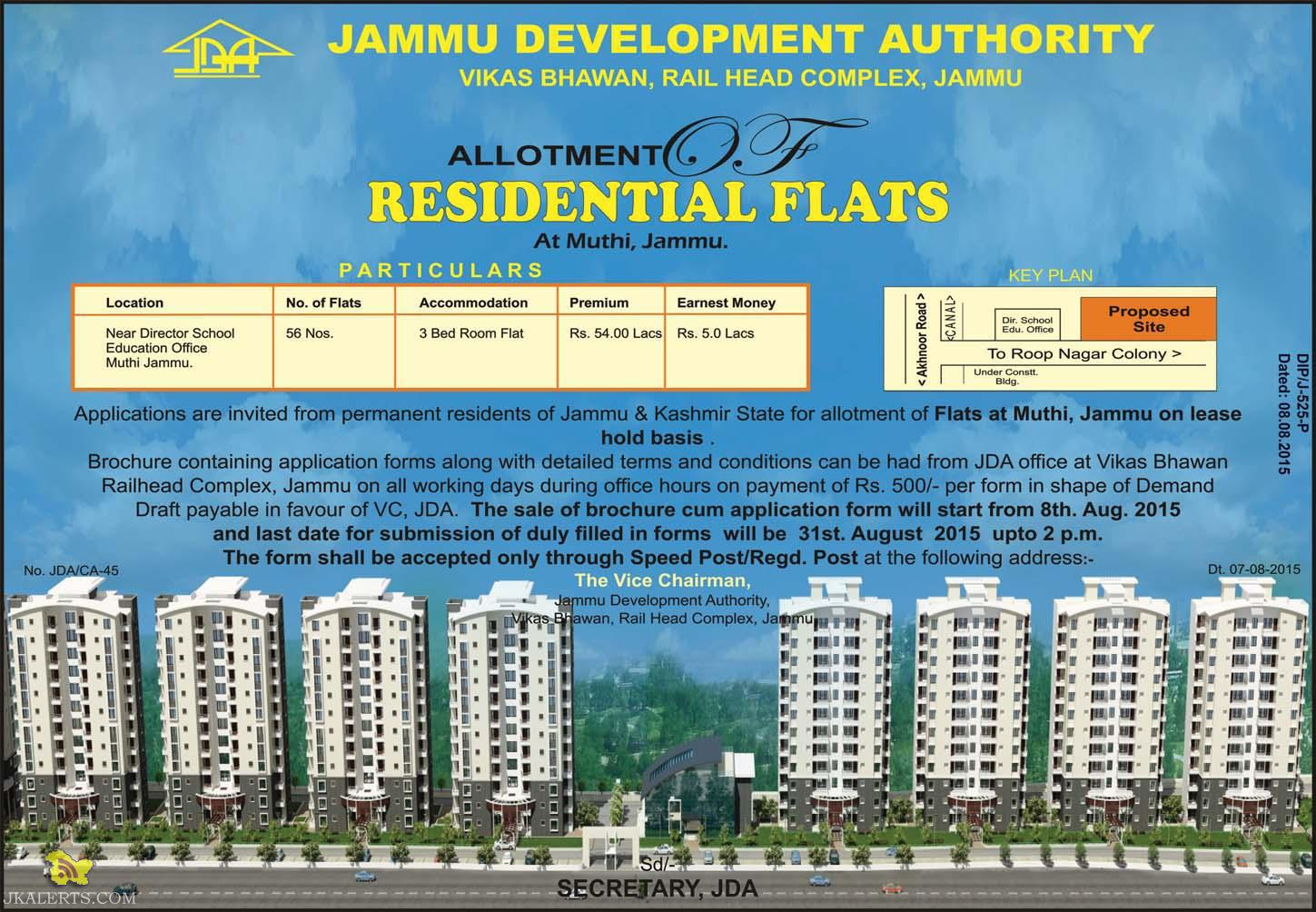 JDA Allotment of residential Flats at Muthi, Jammu, Sale of Flats, sale of Jda Flats in jammu, Jda new residential colony in jammu, 3 bhk flats in jammu
