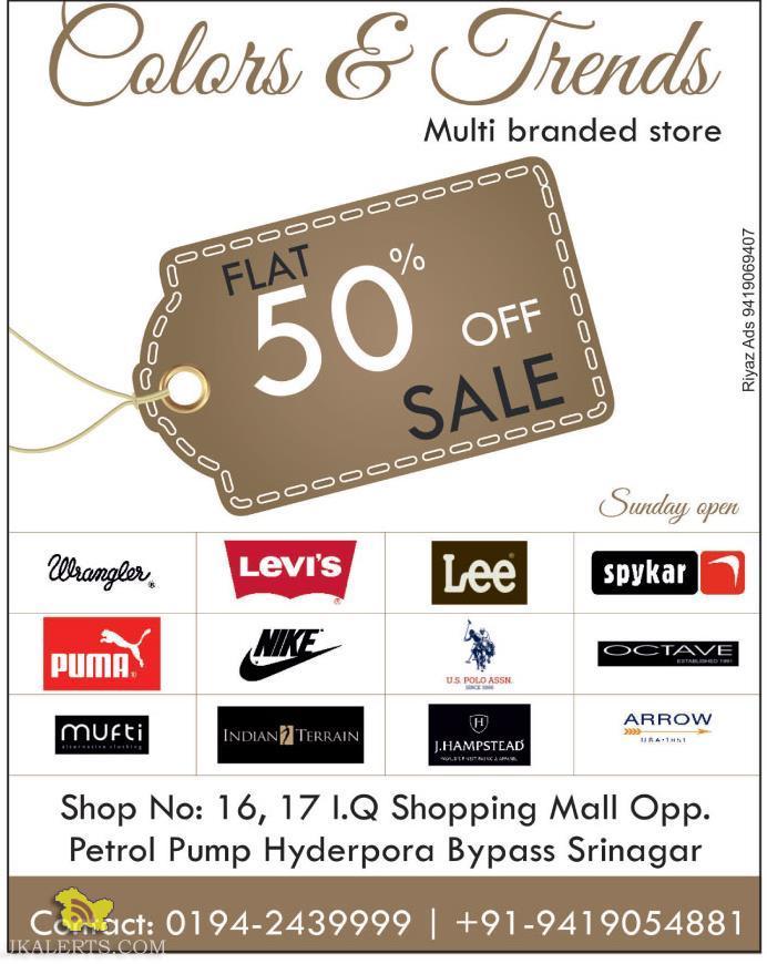 Flat 50% off on big brand in Sirnagar