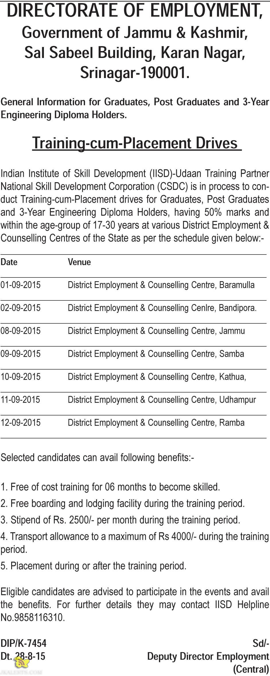 Training cum Placement Drive for Graduates, Post Graduates and 3-Year Engineering Diploma holder