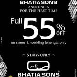 FULL 55% off on Sarees , wedding lehengas in Bhatia Sons