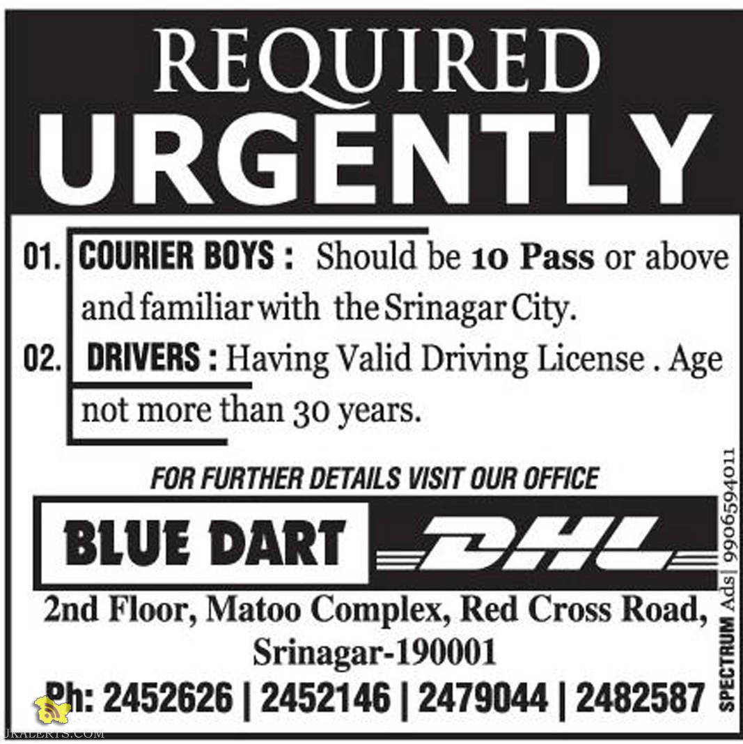 COURIER BOY, DRIVER JOBS IN BLUE DART COURIER SERVICE,