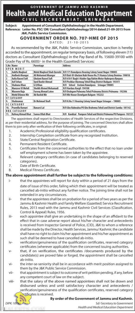 Appointment of Consultant (Ophthalmology) in the Health Department. CIVIL SECRETARIAT