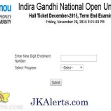 IGNOU Term End Exam Results – December 2016 Declared