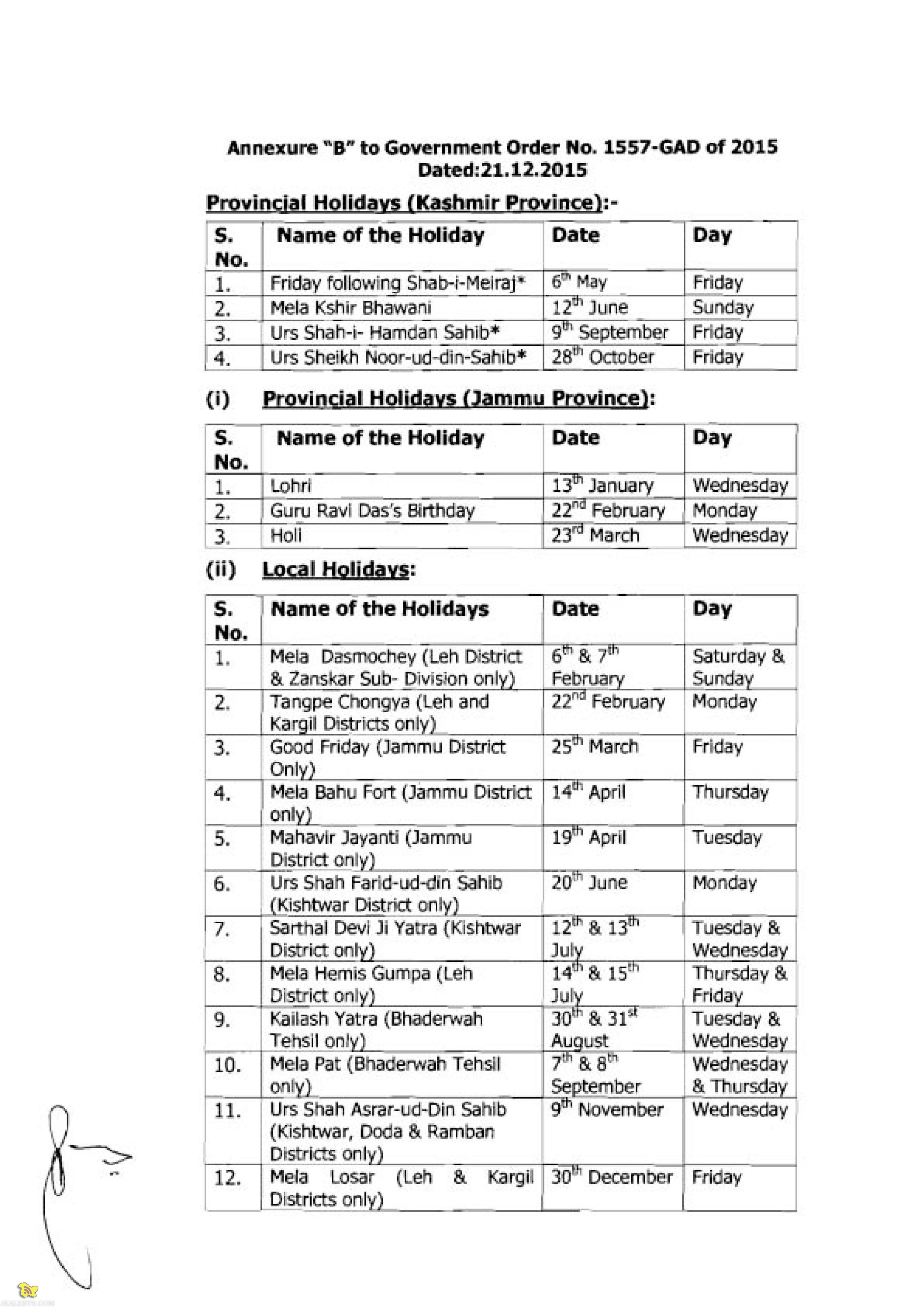 Jammu and Kashmir Government Holidays List 2016