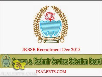 JKSSB Advertisement for State/District Cadre posts Recruitment Dec 2015