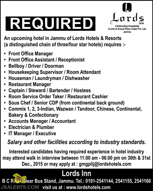 Jobs In Lords Hotels Resorts Jammu