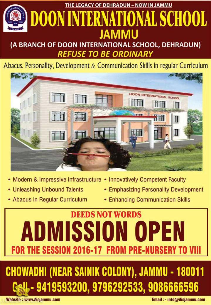Doon International School Jammu ADMISSION OPEN 2016-17 FROM PRE - NURSERY TO VIII