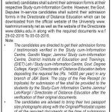 Admission Notification for B.Ed. Course (Jammu, Leh, Kargil Chapter and In-Service Govt. Deputees)