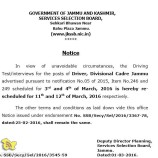 JKSSB Rescheduled Driving Test/interviews for the posts of Driver, Divisional Cadre Jammu