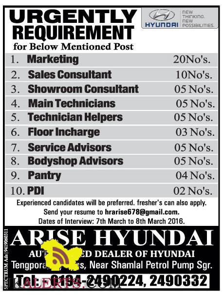 JOBS IN ARISE HYUNDAI DEALERSHIP SRINAGAR