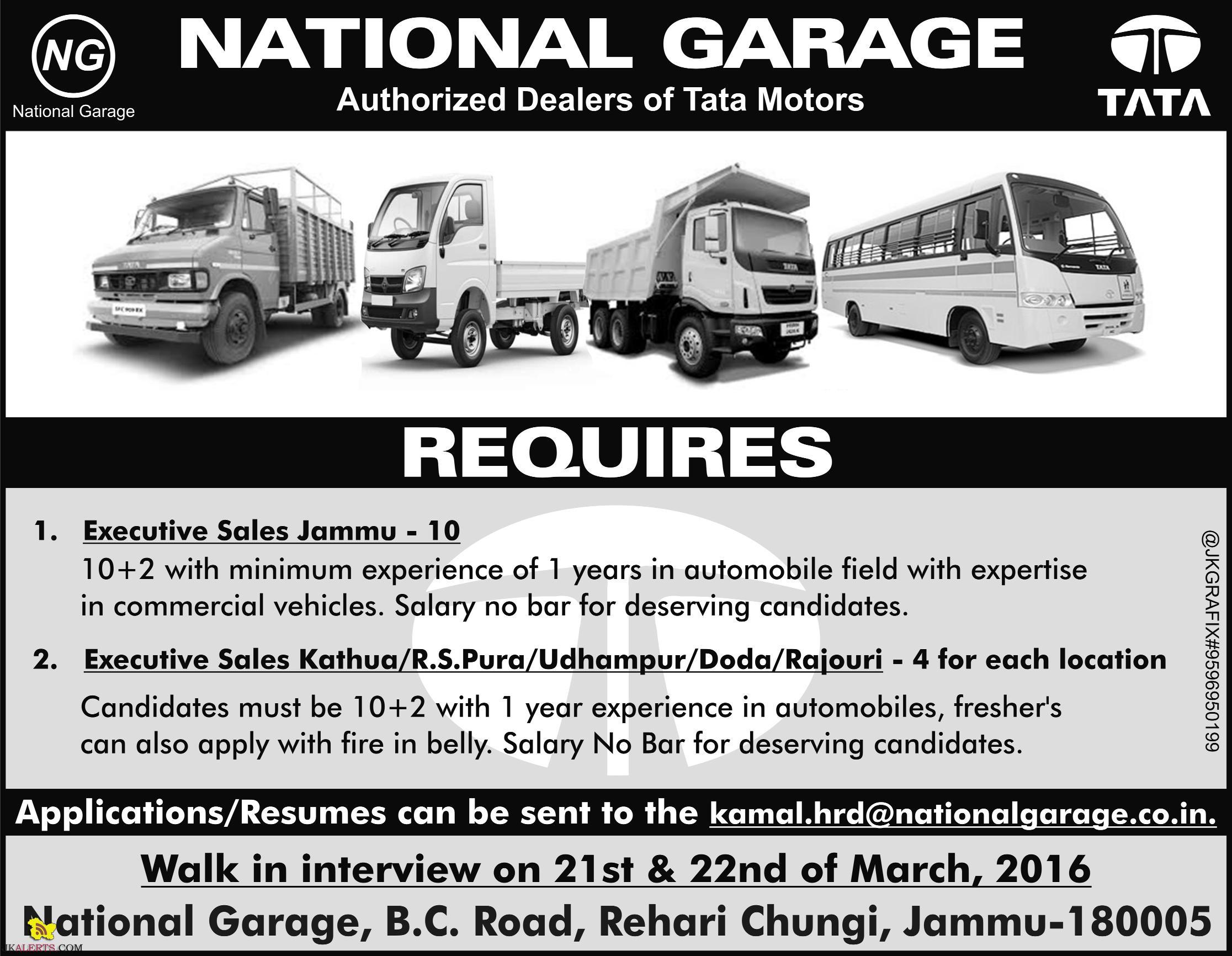 Jobs in National Garage Kathua, R.S.Pura, Udhampur, Doda , Rajouri