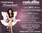 naturals offers off on Hair & Skin Packages Makeup Keratin Treatment, Rebounding,  smoothing & Colouring