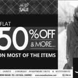 MONALISA  Flat 50% off on MEN, WOMEN & KIDS SAREES LEHANGAS READYMADE SUITS & ACCESSORIES