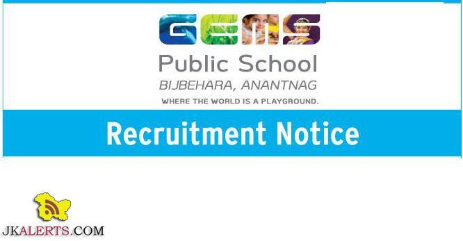Recruitment Gems public school srinagar