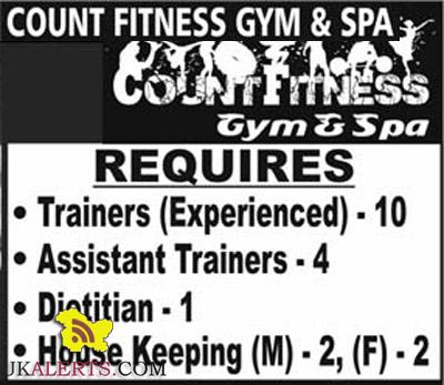 Trainers , Assistant Trainers , Dietitian Jobs in Count Fitness Gym and Spa