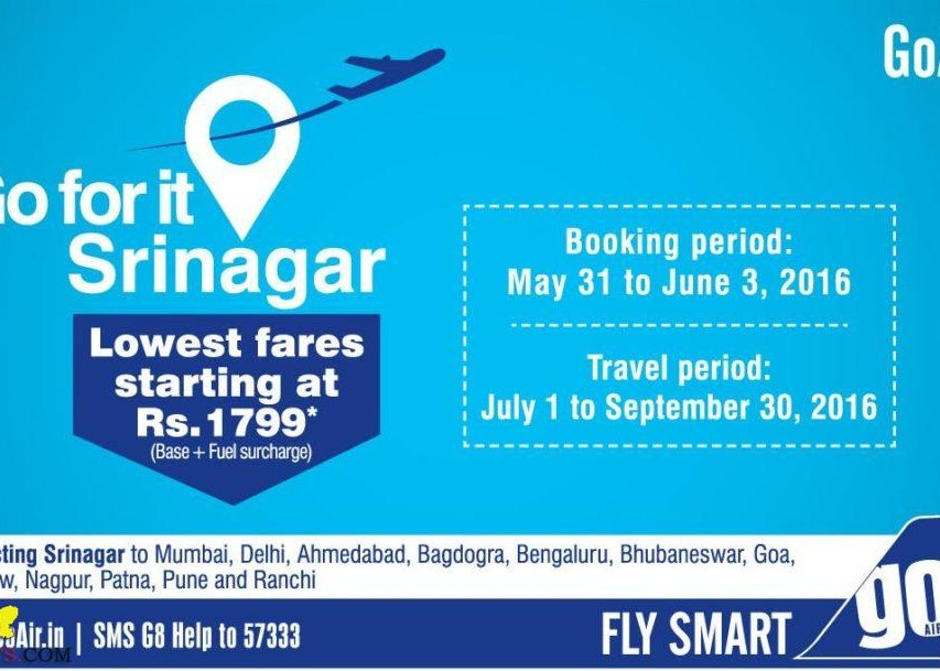 Go Air lowest fares offer from 31 may to 3 June 2016
