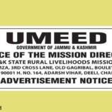 Umeed (JKSRLM)  Interview Schedule at Srinagar and Jammu