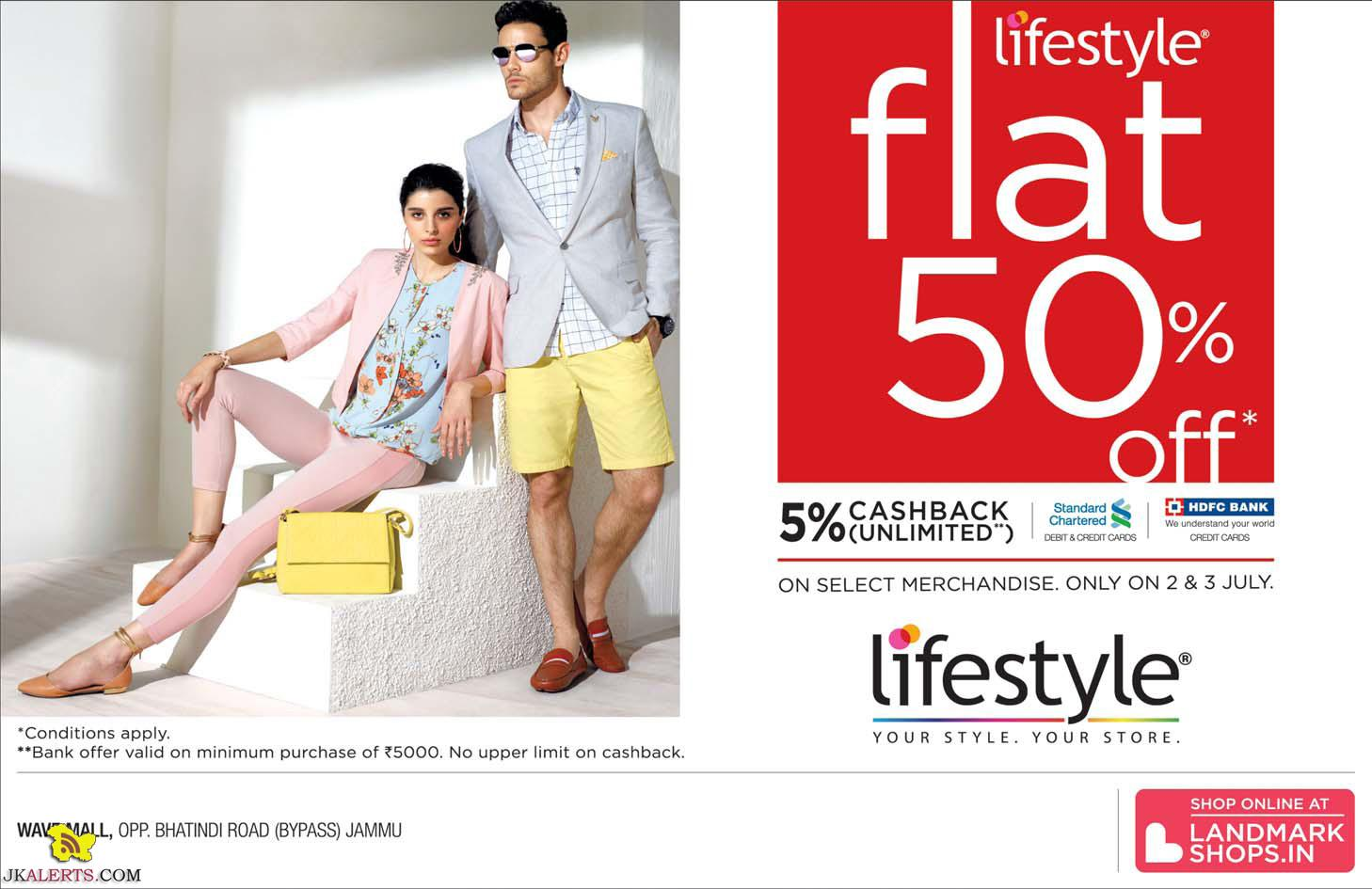 Flat 50% off in Lifestyle Jammu Wave mall