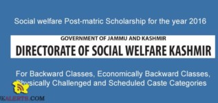Social welfare Post-matric Scholarship for the year 2016