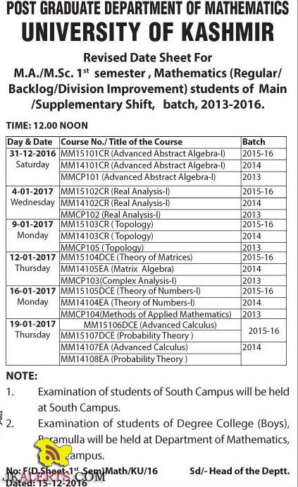 University of Kashmir Revised Date Sheet For M.A./M.Sc