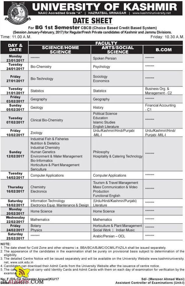 UNIVERSITY OF KASHMIR DATE SHEET For BG 1st Semester