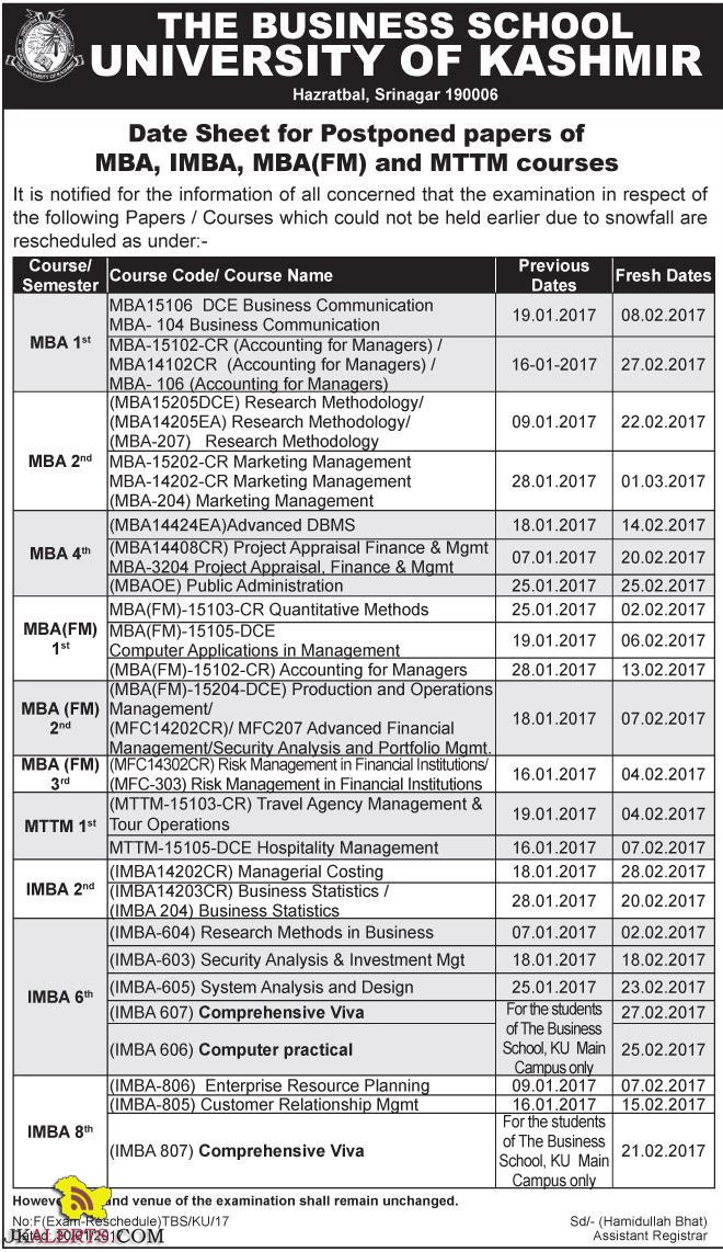 Kashmir University Date Sheet for Postponed papers of MBA, IMBA, MBA(FM) and MTTM courses