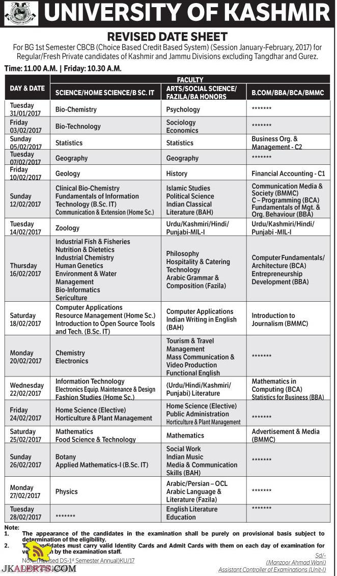 University of Kashmir BG 1st Semester CBCB Revised Date Sheet