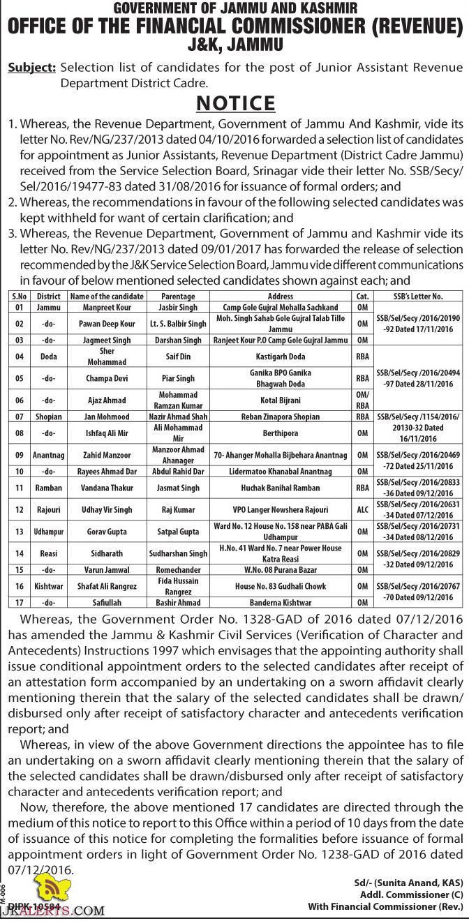 Revenue Department Selection list of Junior Assistant