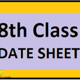 Date Sheet for Class 8th  Annual Session (T- 2 ) 2017  Jammu Province