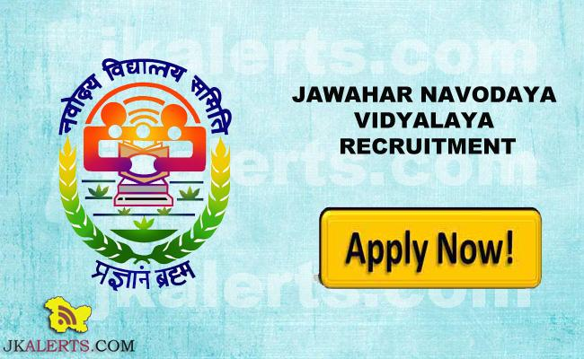 JAWAHAR NAVODAYA VIDYALAYA RECRUITMENT, JNV REASI JOBS, Jobs in JNV J&K