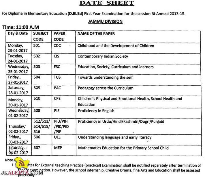 JKBOSE Date Sheet For Diploma in Elementary Education D.EI.Ed Jammu Division