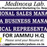 Jobs in Pharmaceutical Marketing Co Medinova Lab Jammu