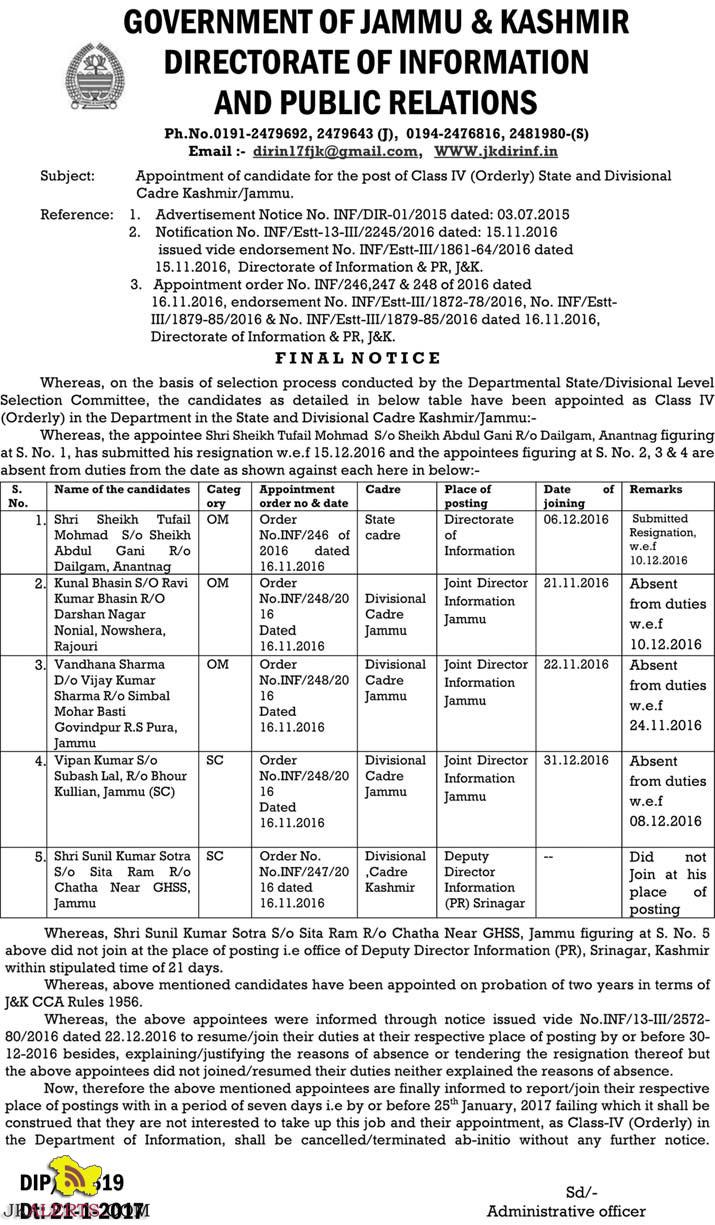JK Directorate of information and public relations Class IV (Orderly) Selection list