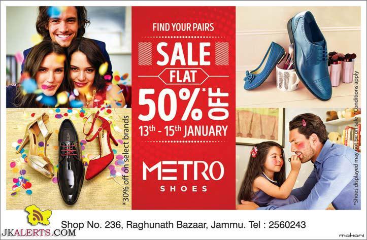 Metro Shoes Flat 50% off Raghunath Bazar Jammu
