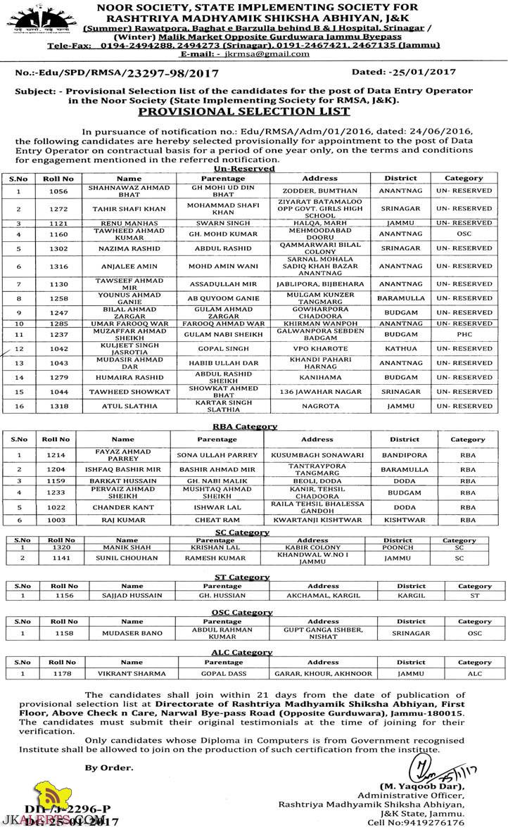 Selection list of Data Entry Operator in the Noor Society RMSA, J&K